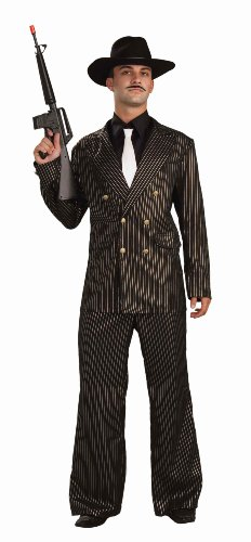 Forum Gangster Gold Costume Suit, Black/Gold, One (Mafia Halloween Costume)