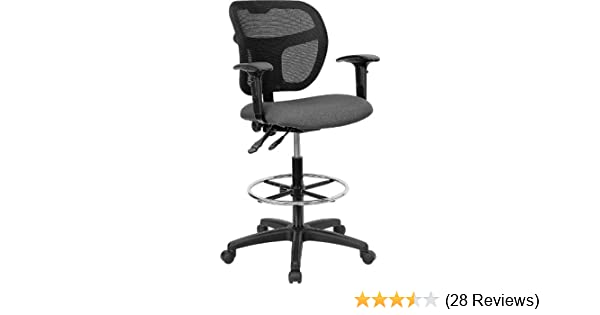 Flash Furniture Mid-Back Gray Mesh Drafting Chair with Adjustable Arms