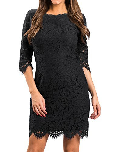 MEROKEETY Women's Elegant Lace Floral 3/4 Sleeve Cocktail Party Bodycon Dress