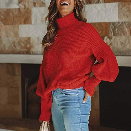 Blusa Ropa Abrigo Larga Cardigan Rojo s Punto Para Eu Zhrui De color Sólido Sudadera Manga 36 cn Tops Prendas Tamaño Señoras Mujer Pullover qwxP6O