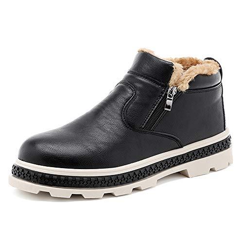 Noir 42 EU SCSY-Oxford Chaussures de Neige élégantes pour Homme Bottes de Neige décontractées Chaudes Commodious Fermeture éclair Polaire à l'intérieur