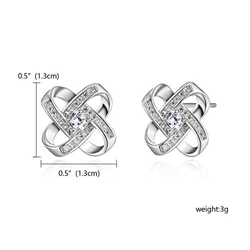 Pretty New White Gold Plated Silver Clear CZ Accented Love Knot Stud Earrings for Women Lady