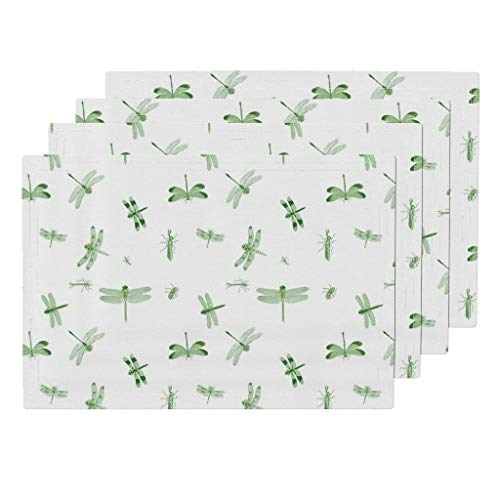 Roostery Dragonflies 4pc Linen Cotton Canvas Cloth Placemat Set - Toile Green Insects Vintage Biology Nature by Bettina Pedersen (Set of 4) 13 x 19in