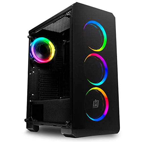 Deco Gear Mid-Tower PC Gaming Computer Case 3-Sided Tempered Glass and LED Lighting - Mini-ITX, Micro-ATX, ATX - Includes 4 120mm Double Ring Fans w/Expansion for More, 7 Expansion Slots, 4 Drives