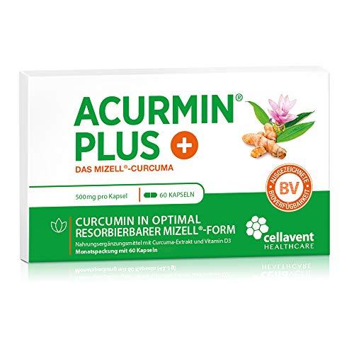 Kurkuma Kapseln hochdosiert von Acurmin PLUS – mizellares Curcumin + Vitamin D3 – ohne Piperin – C14 – 60 Kapseln