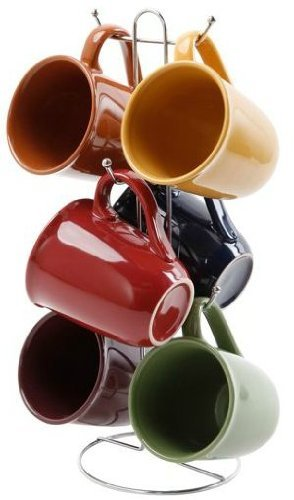 Gibson Everyday Contempo Hues 15-ounce Mug Set with Rack, Set of 6 by Gibson by Gibson