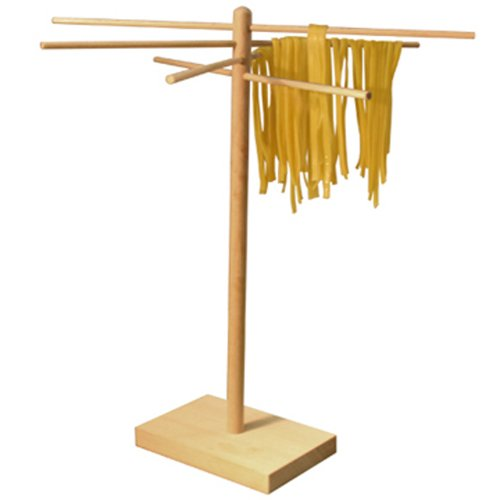 "Weston Bamboo Pasta Drying Rack (53-0201), 10 Drying Arms, 16"" Tall, 14"" Wide, Stores Flat"