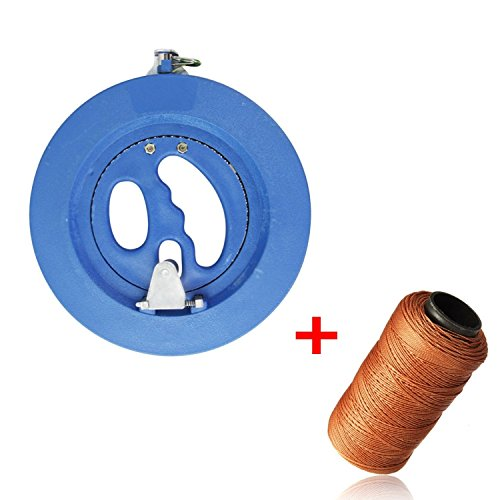EVINIS Professional Outdoor Kite Line Winder Winding Reel Grip Wheel with flying Line String Flying Tools With Lock-With 100m 70LB Kevlar Line-Blue