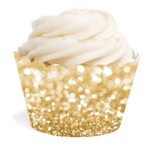 Glitter Cupcake Wrappers - Andaz Press Glitzy Faux Gold Glitter Cupcake Wrapper Decorations, 24-Pack, Not Real Glitter