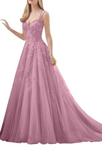 La_mia Brau Hochwertig Spitze Traeger Abendkleider Hochzeitskleider Standsamt Kleider Brautmode Ballkleider Lang Dunkel Rosa MLilOwZgxx