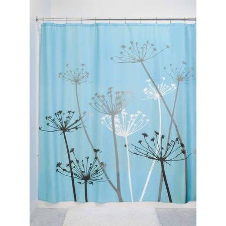 InterDesign Thistle Shower Curtain, Made of Highly Constructed 100 Percent Polyester, Blue/Black