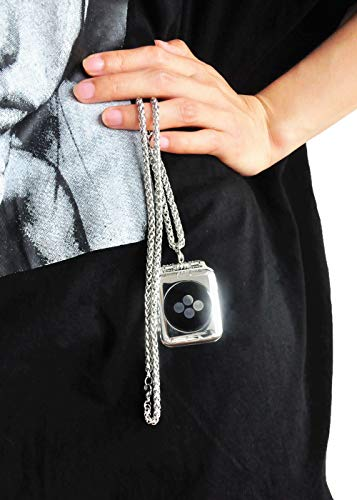 Stainless Steel Chain Necklace Smartwatch Band 42mm Series 3 2 1 44mm Series 4 Newest Polished Silver Metal Wheat Chain Strap Rope Neckband Replacement Accessories Wearable Technology Women Men