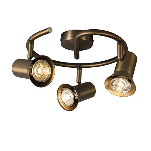 QAZQA Moderne Plafonnier spot Karin 3 boucle bronze Métal Bronze Rond GU10 Max. 3 x 35 Watt/Luminaire / Lumiere/Éclairage / intérieur/Salon / Cuisine