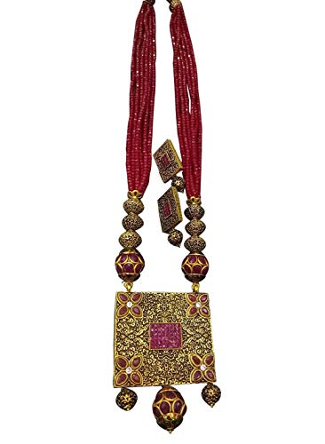 - Babosa Sakhi Antique Pendant Ruby Red Jadau Beads Traditional Indian Ethnic Jaipuri Polki Necklace Set