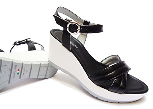 Nero Giardini 5711 Sandalen Damen aus Leder schwarz Farbe ALT. Keilabsätze cm. 7,NUM.37