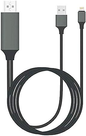 KZKR - Cable HDMI para iPhone, 1080P Digital a 4K HDTV, Adaptador de Displayport 6.6 Ft, Compatible con iPhone XR, X, 8, 7, 6, iPad Air, Mini, Pro, Pod Touch, Plug & Play (Gris)