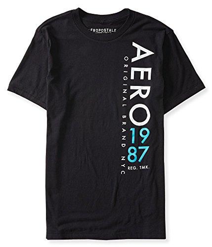 Aeropostale Men's Aero Vertical Logo Graphic T Shirt Xl Black