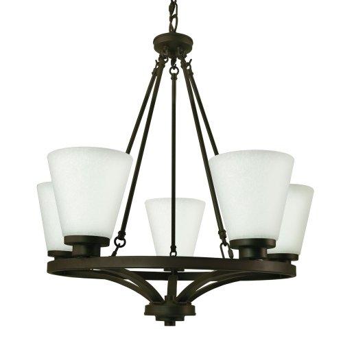 Good Earth Lighting G4859-DBZ-I Taos 5 Light Chandelier, Dark Bronze-Frosted White Glass