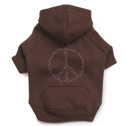 Casual Canine Polyester 12-Inch Peace Sign Dog Hoodie, Small, Brown