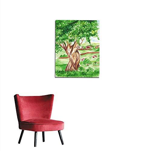 Corridor/Indoor/Living Room Watercolor Big Green Tree in Village