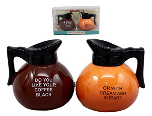 Ebros Breakfast Black Or Cream Coffee Pots Salt & Pepper Shakers Ceramic Magnetic Figurine Set - Coffee Pot Cream