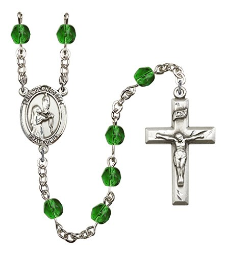 May Birth Month Prayer Bead Rosary with Saint Bernadette Centerpiece, 19 Inch