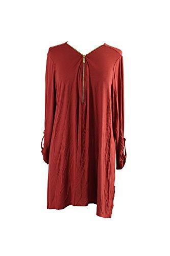 JM Collection Plus Size Rusty Red Front-Zip Handkerchief Top X - Red Collection Zip Top