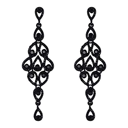 - EVER FAITH Austrian Crystal Hollow Retro Chandelier Waterdrop Dangle Earrings Jet Color Black-Tone