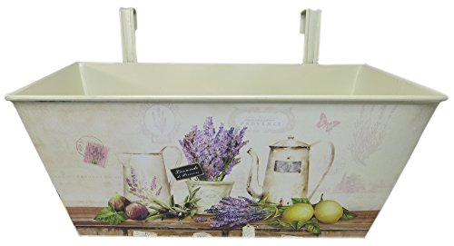 Metall Hängetopf mit 2 Henkeln 2er Set - 27 x 14cm (Motiv: Lavendel)