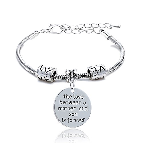 lauhonmin Love Heart Round Mother and Son Charm Pendant Bracelet Silver Alloy Bangle Family Jewelry Birthday Gift