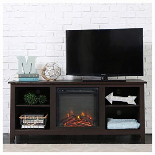 Cheap HEATAPPLY Electric Fireplaces Espresso Wood 58-inch TV Stand Electric Fireplace Space Heater Black Friday & Cyber Monday 2019