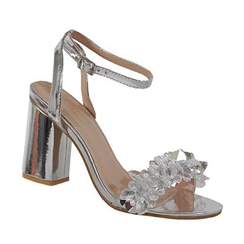 Yoki Metallic Open Toe 3D Crystal Heels Ankle Straped Dress Sandals Alaina-09 Women's Shoes (8, Silver)
