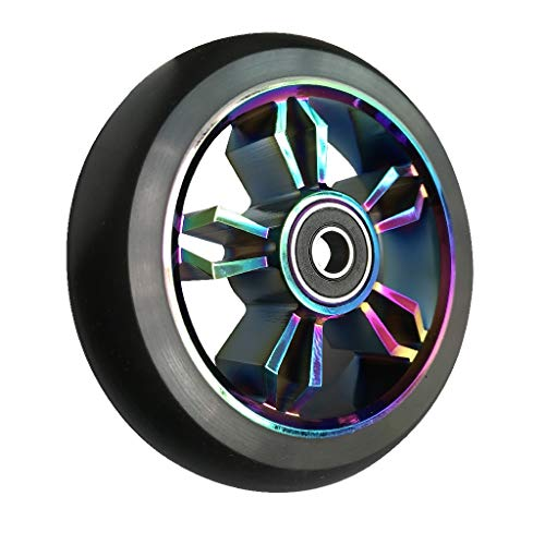 aibiku 2020 Pro Stunt Scooter Wheels 100mm Replacement Wheels with ABEC-11 Bearing - 2pcs (Colorful/Black)