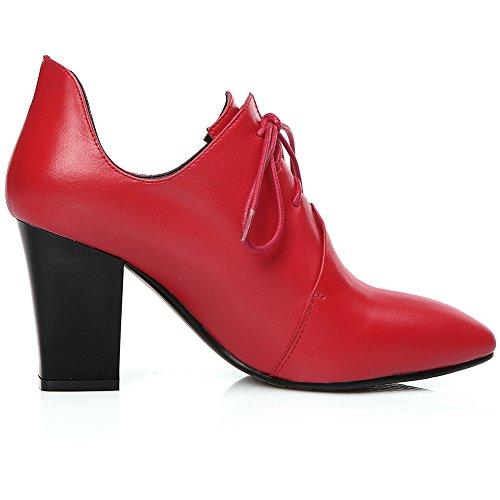 Minivog Bloccato Tacco Medio In Pelle Liscia Scarpe Oxford Donna Rosso