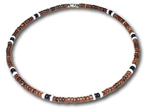 Native Treasure - 21 inch Dark Brown Black Coco, 2 White Puka Shell Necklace or Bracelet - 5mm (3/16