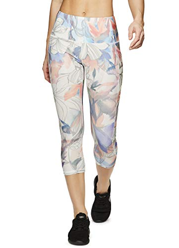 (RBX Active Women's Pocket Tropical Print Yoga Capri Leggings Floral Tropical XL)