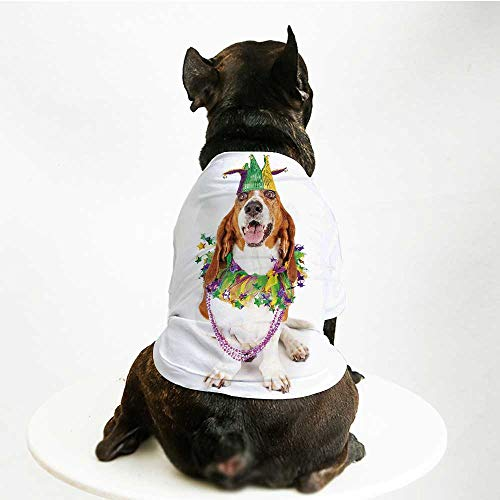 - YOLIYANA Mardi Gras Printing Pet Suit,Happy Smiling Basset Hound Dog Wearing a Jester Hat Neck Garland Bead Necklace Decorative for Small Dog Teddy Chihuahua Bichon,L