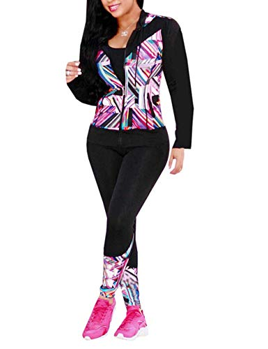 (Angsuttc Women's 2 Piece Outfits Long Sleeve Full Zip Hooded Jacket and Pants Set Tracksuit Pink L)