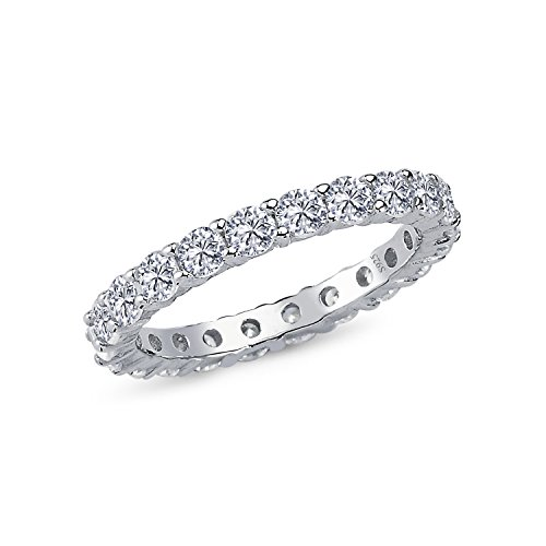 925 Sterling Silver 3MM ALL AROUND ETERNITY Design AAAAA+ Gem Grade Quality ROUND BRILLIANT CUT1.50 CARAT CZ Ring Comfort Fit and Rhodium Plated Bridal Sets Anniversary Promise Engagement Wedding Ring (Rhodium Plated Sterling Silver Band)