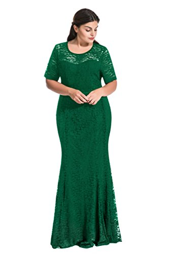 myfeel Women Plus Size Lace Ruched Empire Waist Sweetheart Mermaid Fishtail Cocktail Evening Dress (4X, Green)