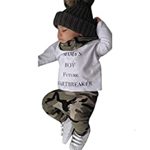 Sumen Newborn Kids Baby Boys Outfits Clothes Letter T-shirt Tops+Camouflage Pants Set