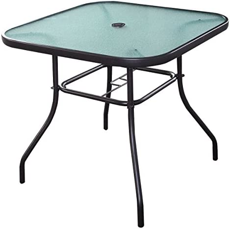 Giantex 32.5 Outdoor Glass Table W/Tempered Tabletop and Umbrella Hole Square Outside Bar Dining Table