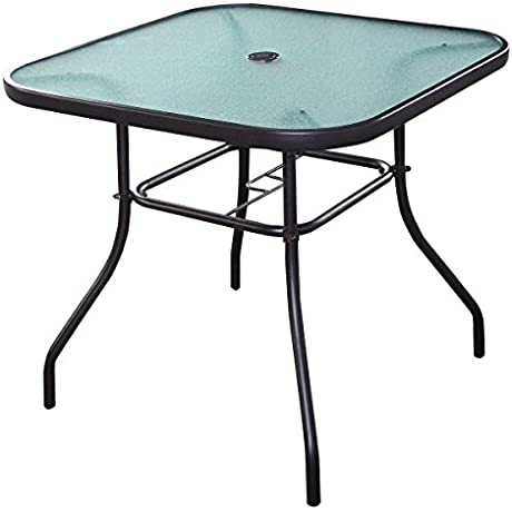 Giantex 32 1 2 Patio Square Bar Dining Table Glass Deck Outdoor Furniture Garden Pool