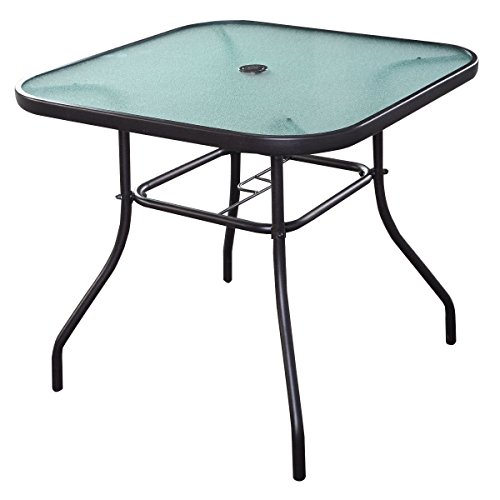 Giantex 32.5'' Outdoor Glass Table W/Tempered Tabletop and Umbrella Hole Square Outside Bar Table for Deck Garden Pool Outdoor Furniture Patio Table