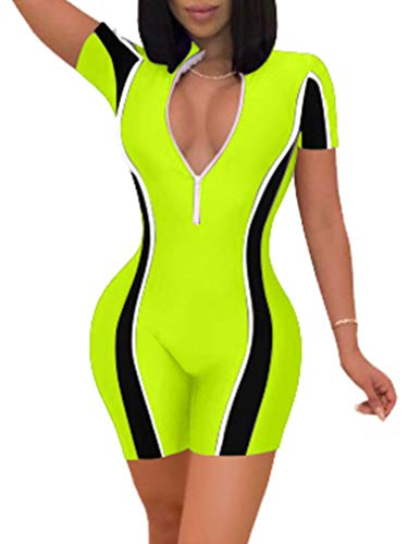- GOKATOSAU Womens Sexy Bodycon Short Sleeve Stitching Rompers Shorts Jumpsuits Fluorescent Green