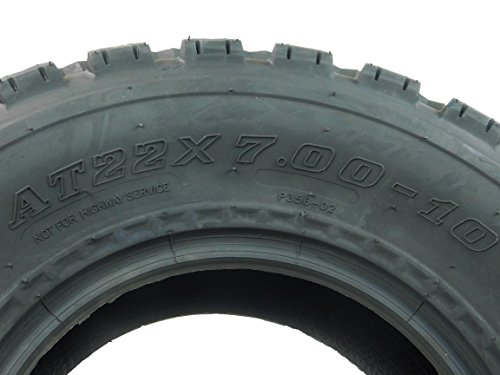 New MASSFX ATV Sport Quad Tires Two Front 22x7-10 4 Ply Tires For Yamaha Raptor Banshee Honda 400ex 450r 660 700 400 450 350 250 (Set of 2 Front 22x7-10) by MassFx (Image #1)