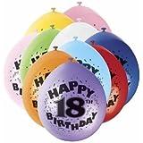 18th Happy Birthday Latex Balloons 10pk