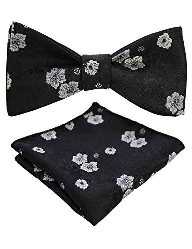 JEMYGINS Mens Black Floral Bowtie Self Bow Tie & Pocket Square Set (46)