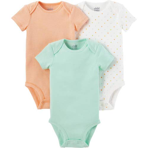 Child of Mine by Carter's Newborn Baby Neutral Short Sleeve Basic 3 Pack Bodysuit, Size 0-3 Months(Mint/Melon/White) ()