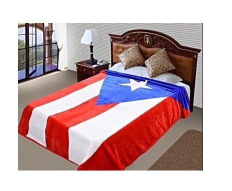 "PUERTO RICO Flag Blanket,75""Hx90""W, Throw, Ultra Plush Korean Mink, Year Round, Vivid color, Warm, Lightweight perfect Traveling, Camping ,Hiking,Cabin, Sleigh , Bunk , Bed, Sofa and Couch Bed-Cover"